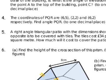 Trigonometry mixed homework including problem solving
