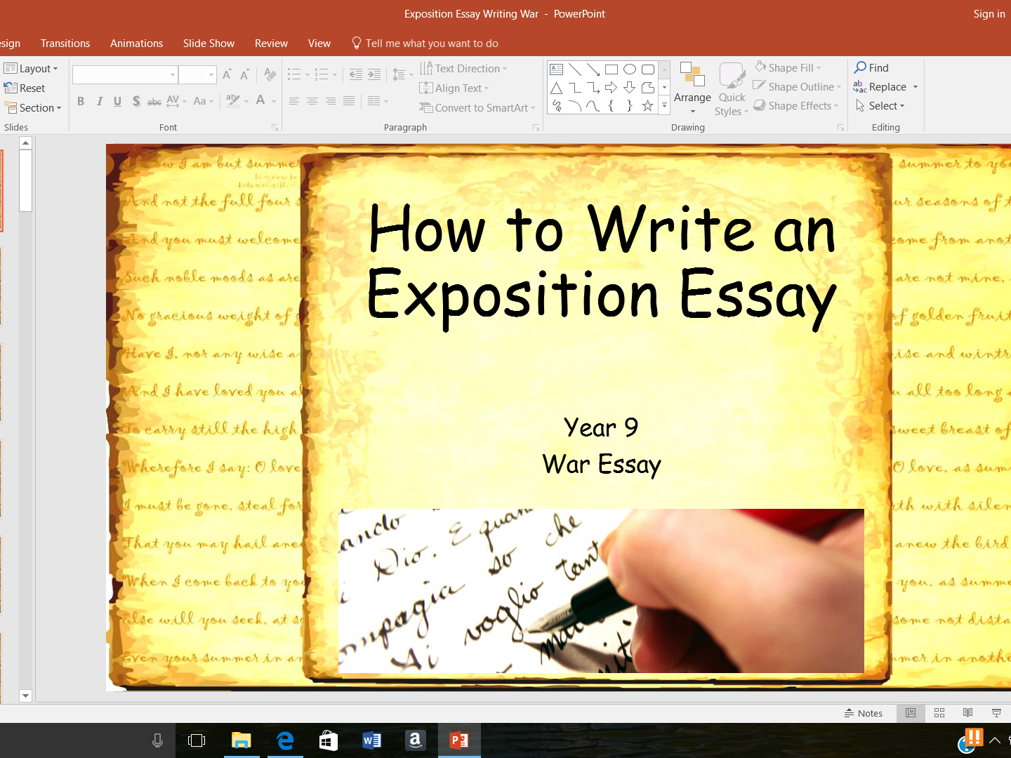 Exposition Essay Writing - War Unit of Work - KS3 - Preparation for new WJEC English Language GCSE