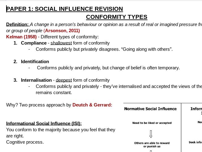 PSYCHOLOGY  SOCIAL REVISION NOTES