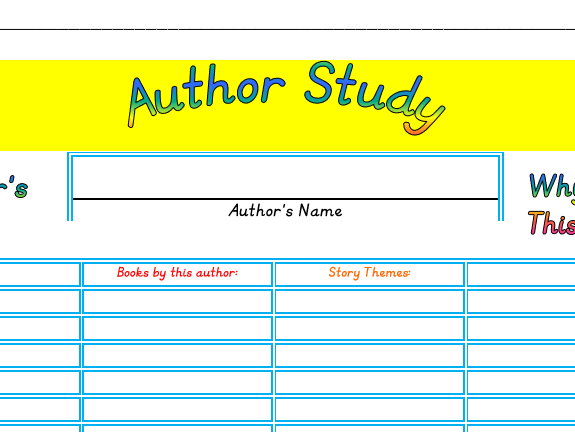 Author Study sheet