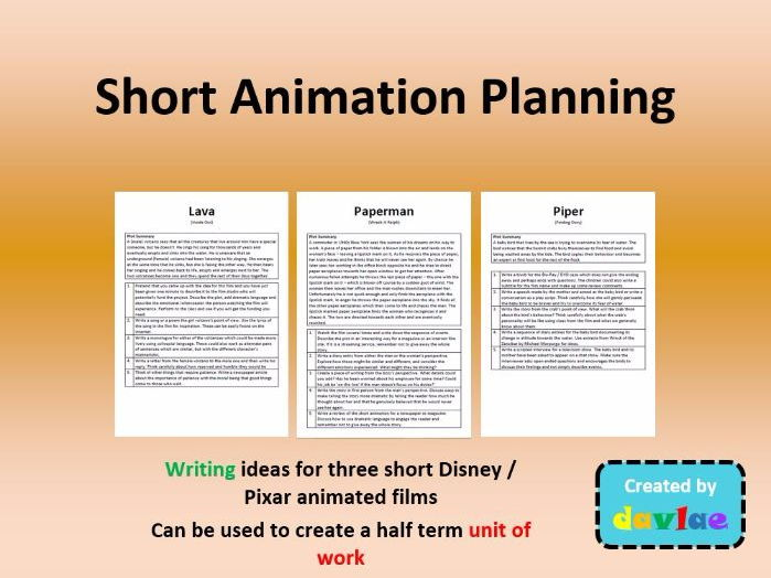 Disney / Pixar Short Animation Planning for KS2  - Writing activities to create a unit of work
