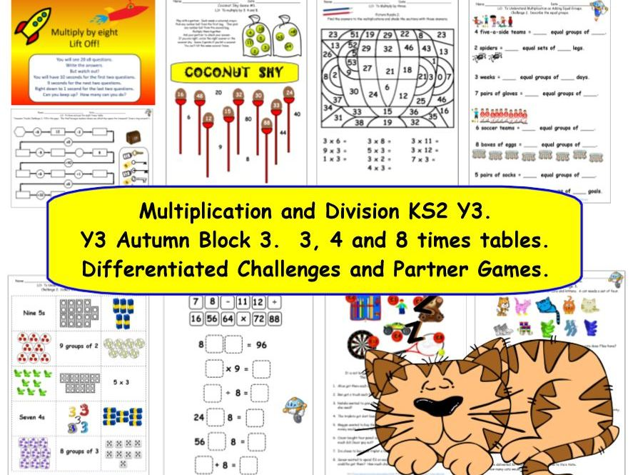 Multiplication and Division KS2 Y3 Autumn Block 3 inc.  x÷3, x÷4, x÷8 Differentiated Challenges