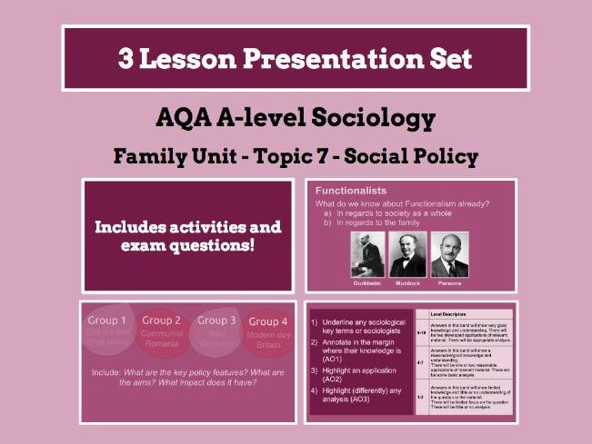 Social Policy and the Family - AQA A-level Sociology - Family Unit - Topic 7