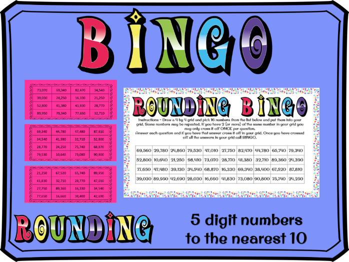 Rounding to the nearest 10 with 5 digit numbers bingo