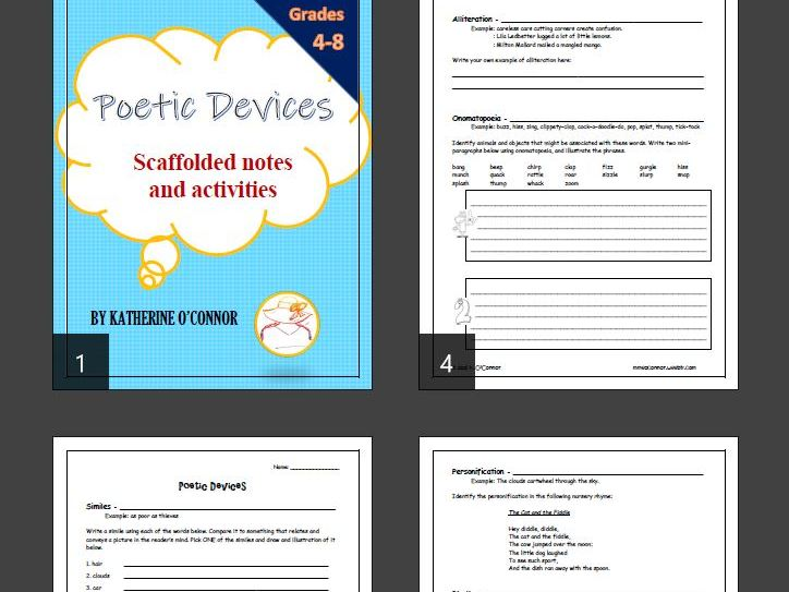 Poetic Devices - scaffolded notes