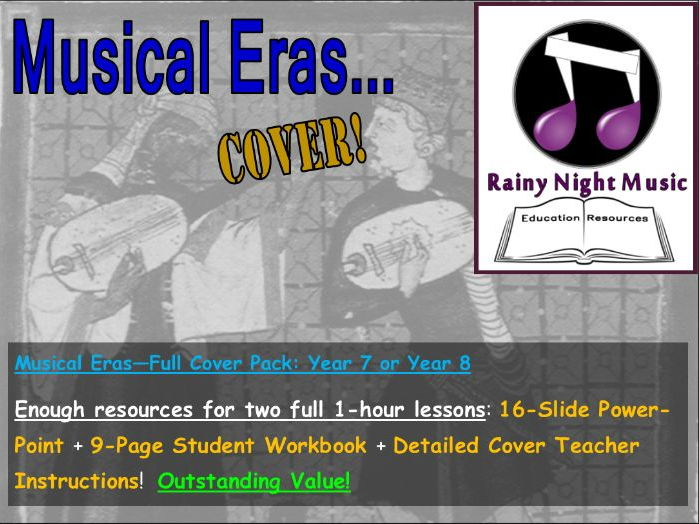 MUSICAL ERAS - YEAR 7 or 8 - FULL COVER PACK to last for two full 1-hour lessons