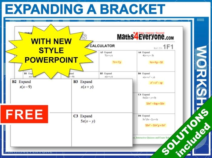 Expanding a Bracket (Worksheets with Answers)