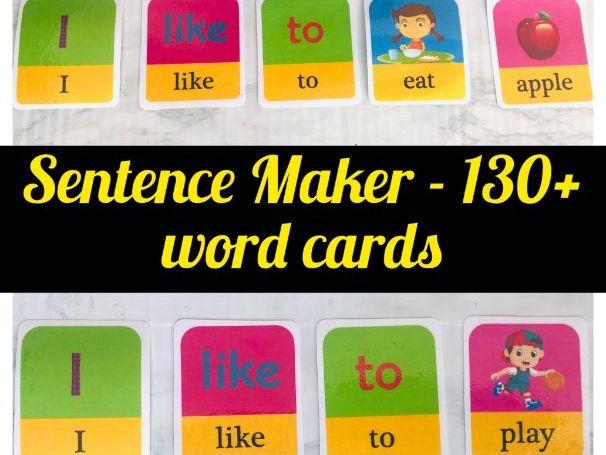 Emergent Reader Game | Visual Sentence Maker | Pack of 130+ Word Cards