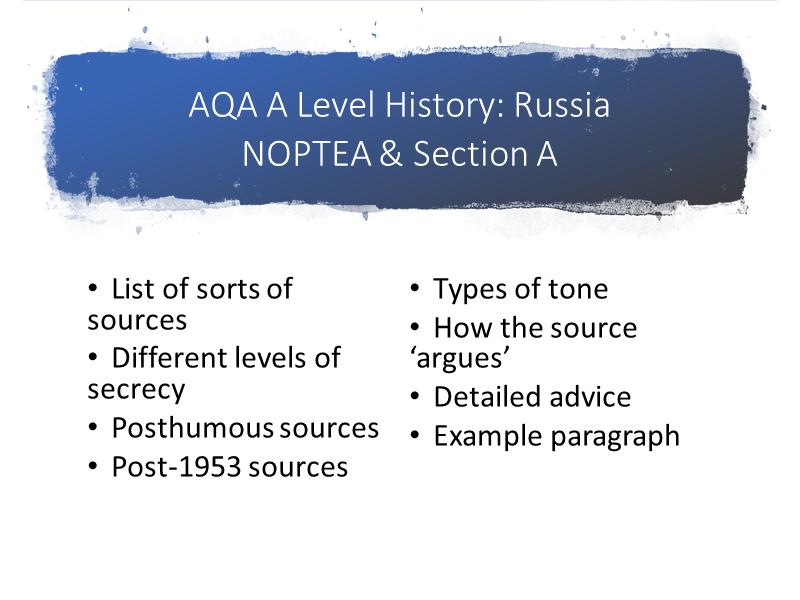 AQA A Level History Russia NOPTEA