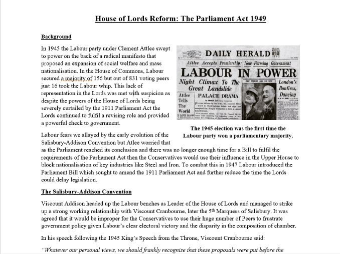 House of Lords Reform: The Parliament Act 1949