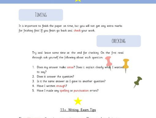 11+ literacy advice booklet