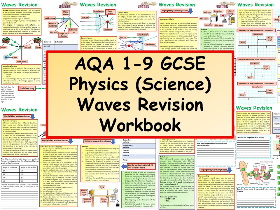AQA 1-9 GCSE Physics (Science) Waves Revision Workbook