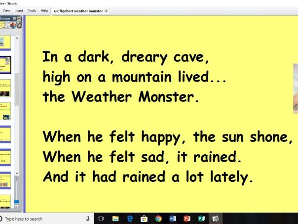Whole Class Guided Reading The Weather Monster Year 1 (need active inspire!)