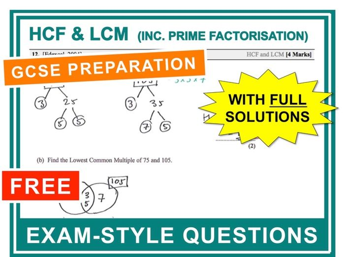 GCSE 9-1 Exam Question Practice (HCF + LCM)
