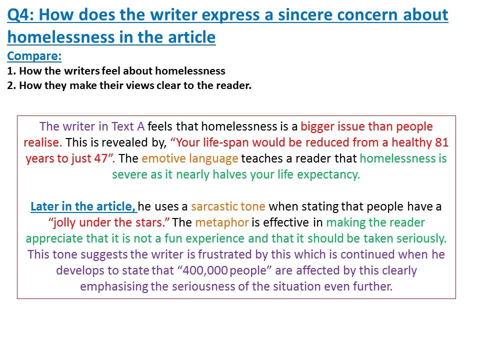 GCSE Non Fiction- Homelessness