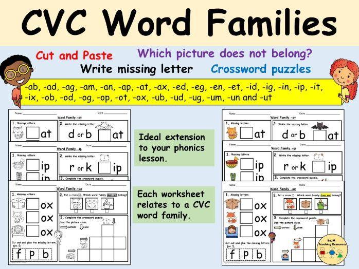 CVC Word Families Phonics Worksheets