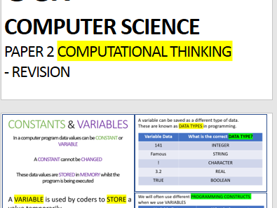 OCR Computer Science - Paper 2  Revision Computational Thinking, Algorithms and Programming