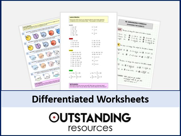Algebra: Differentiated WORKSHEET on Solving Equations