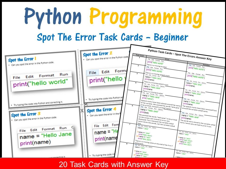 Python Programming - Spot The Error Task Cards (Answers included)