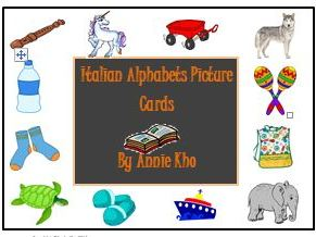 Italian Alphabets Picture Cards