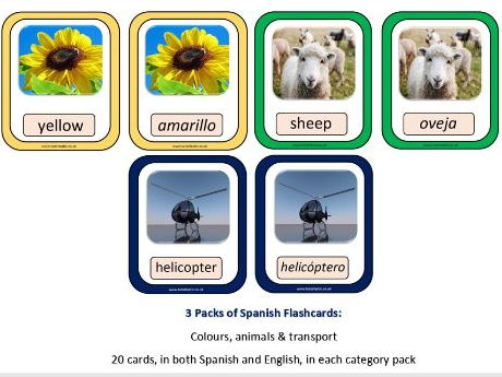 Spanish flashcards: Colours, animals and transport