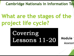 OCR CAMBRIDGE NATIONAL in INFORMATION TECHNOLOGIES LEVEL 1/2 (Lessons 11-20)