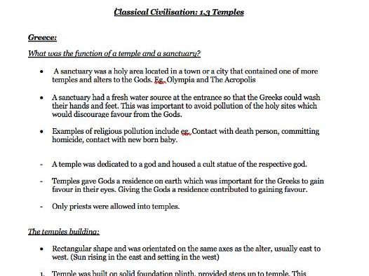 Temples 1.3, Myth and Religion - Notes OCR Classical Civilisation GCSE Revision