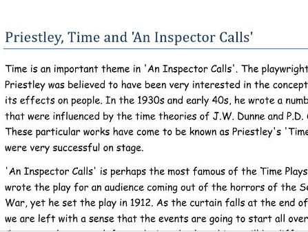 Priestley, Time and An Inspector Calls