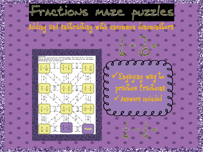 Adding and subtracting fractions with uncommon denominators mazes