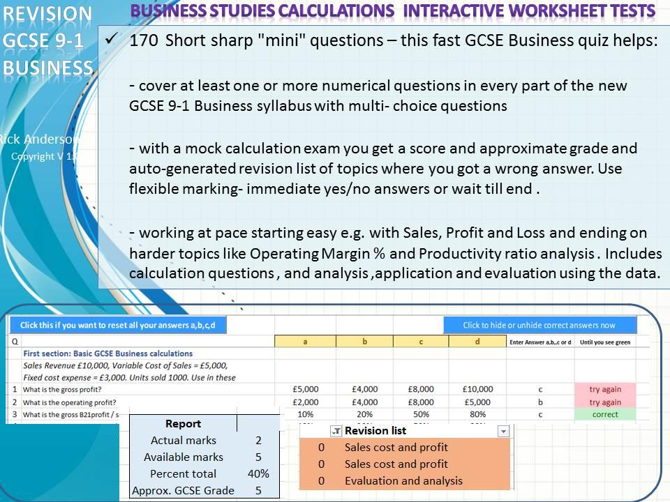 GCSE 9-1 Business 170 numeric questions