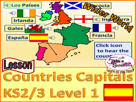PRIMARY SPANISH LESSON (KS2/3): Name UK countries, France, Spain and their capitals.