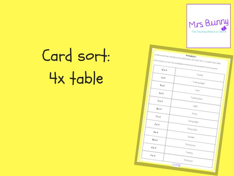 4x table card sort