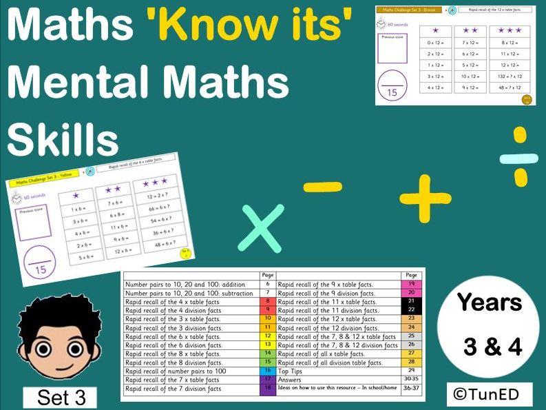 Year 3 Year 4 Mental Maths Mastery Pack, greater depth starters KS2 homework morning activities