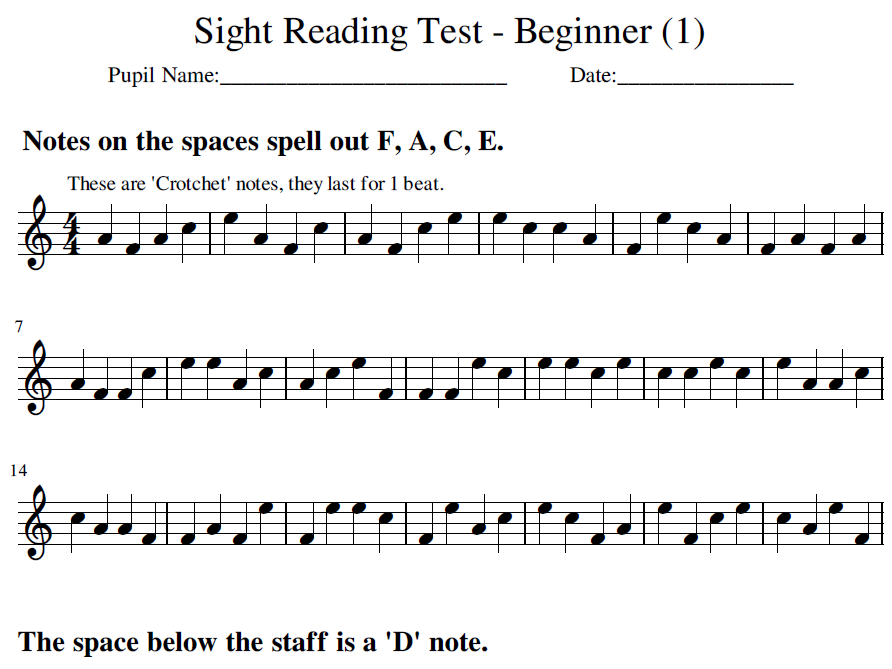 Treble Clef - Beginner - Sight Reading Booklet