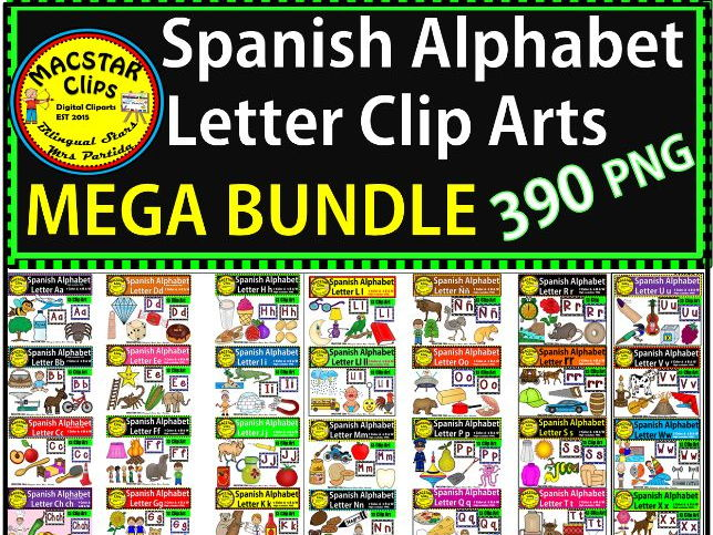 Spanish Alphabet Clip Arts BUNDLE 390 images MACSTAR Clips