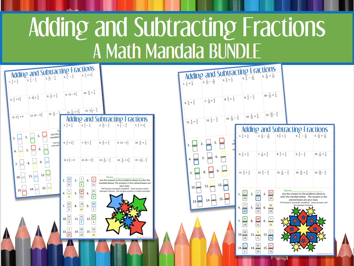 Adding and Subtracting Fractions MANDALAS