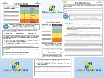 Borg Scale Worksheets: BTEC Sport Level 2 Unit 1 (2018)