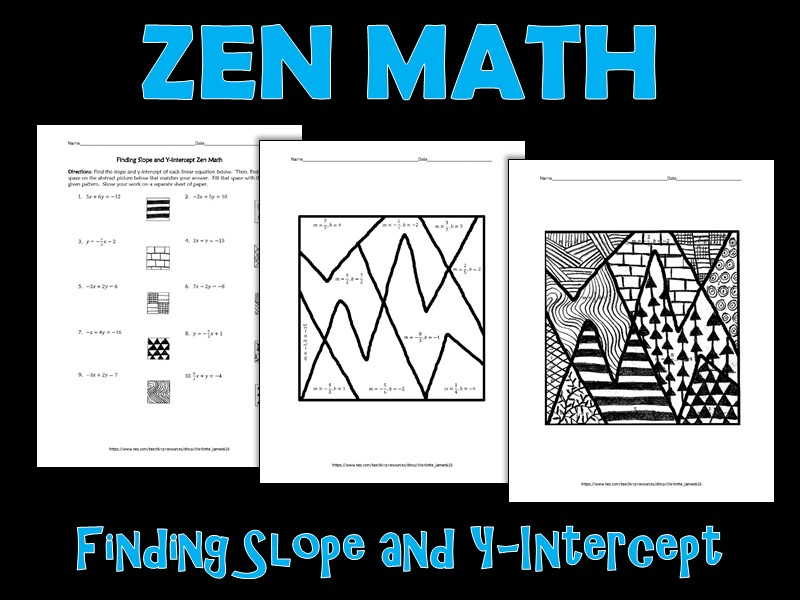 Finding Slope and Y-Intercept Zen Math Freebie
