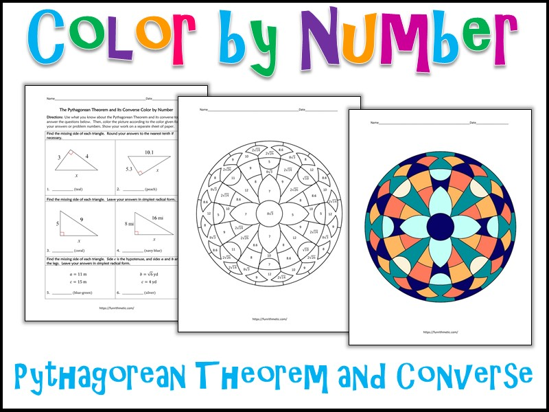 The Pythagorean Theorem and its Converse Color by Number