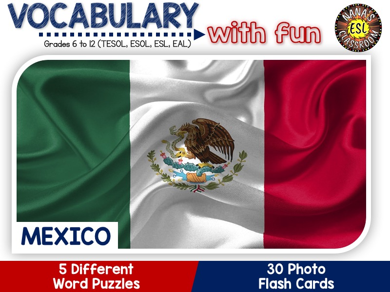 Mexico - Country Symbols: 5 Different Word puzzles and 30 Photo flash cards (ESL, ELA, ELL, TESOL)