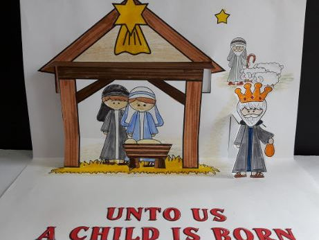 Christmas Crafts - Jesus is Born POP-UP Manger Scene