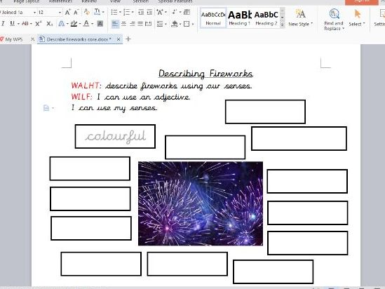 Year 1 Describing Fireworks Lesson Inc Presentation and Differentiated Worksheets