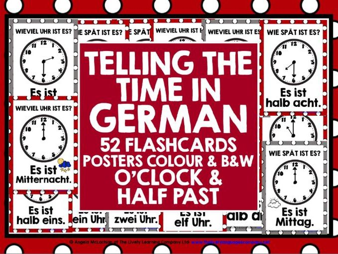 GERMAN TELLING TIME FLASHCARDS POSTERS