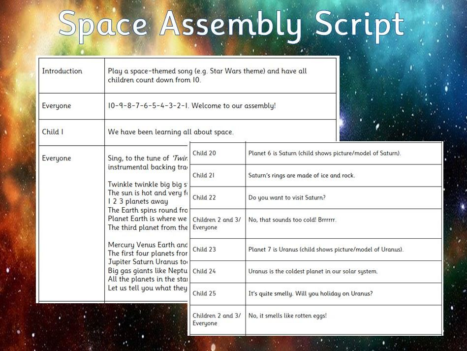 Space Assembly Script - EYFS/KS1