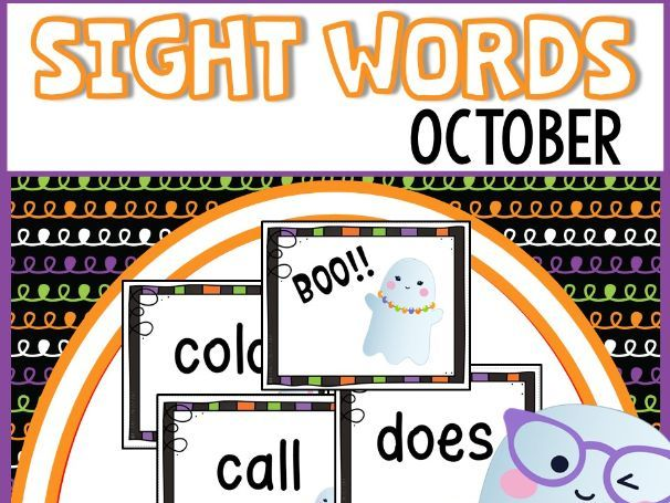 Halloween Sight Words Flash Cards and Game