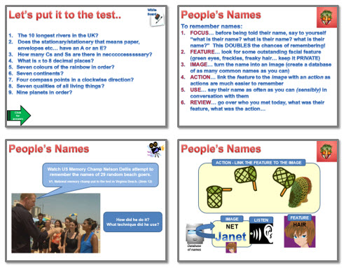 Memory:  Strategies 3 - names and faces