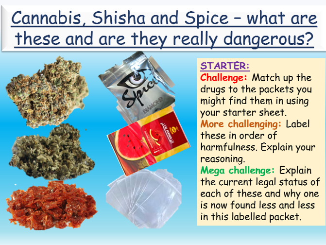 Drugs: Cannabis, Shisha + Spice Drugs