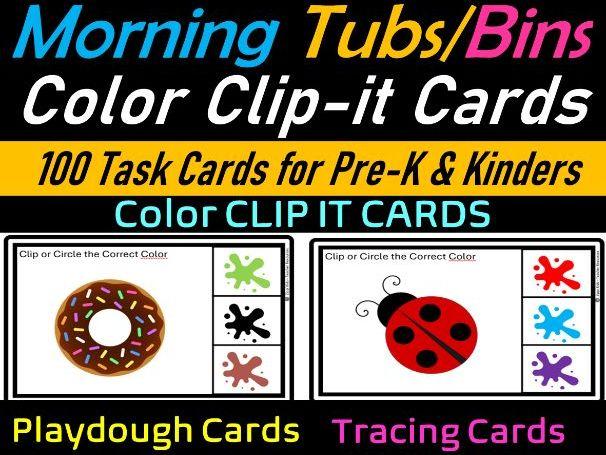 Color Clip it & Tracing Task Cards for Pre-k & Kindergarten| Morning tubs/Bins