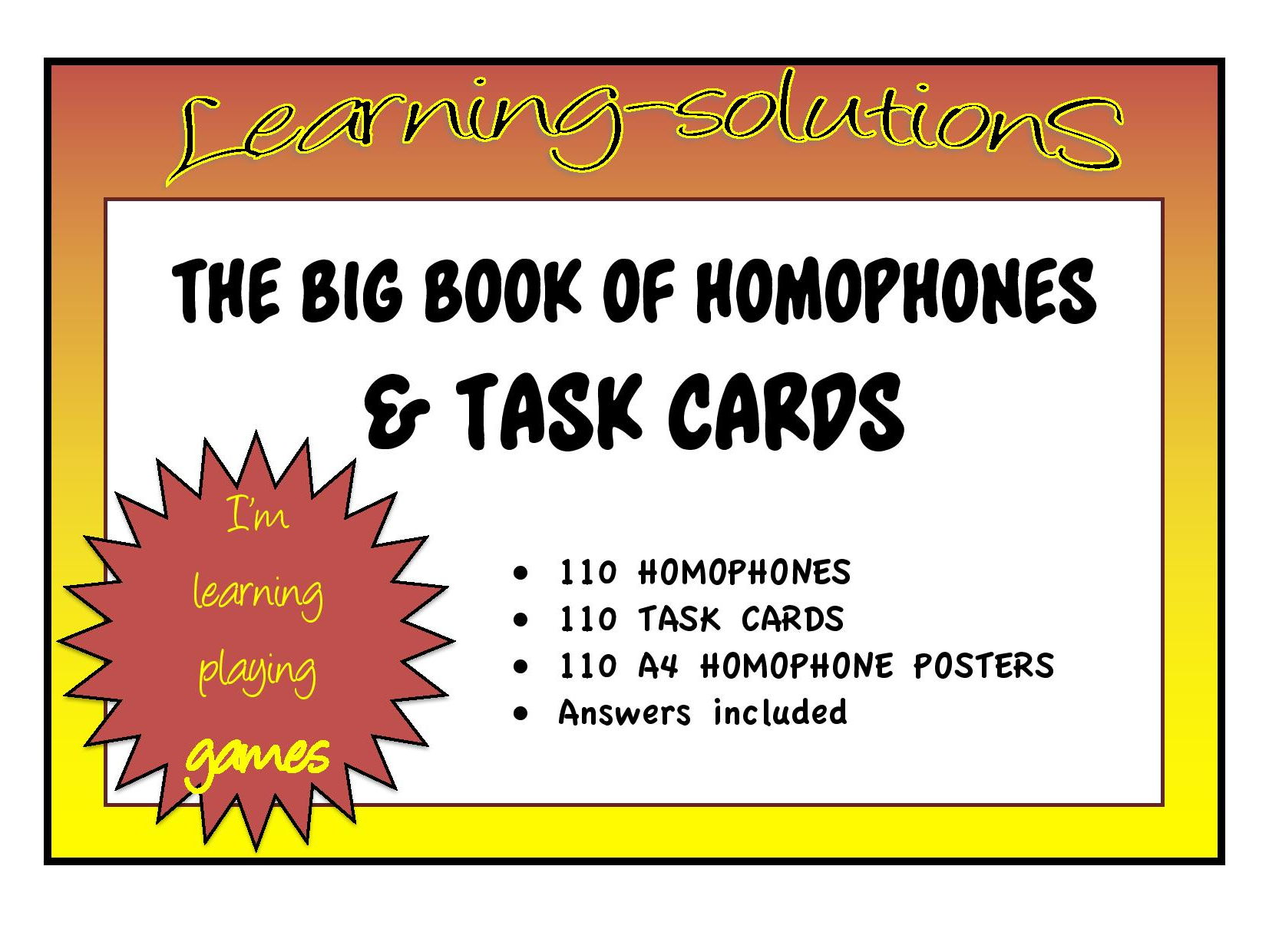 HOMOPHONE BUNDLE - 110 Sets of Homophone Posters  with 110 Task Cards + Answers