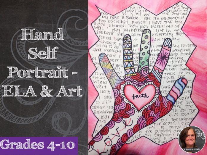 Zentangle Hand Self-Portrait Art with ELA - Back to School Activity